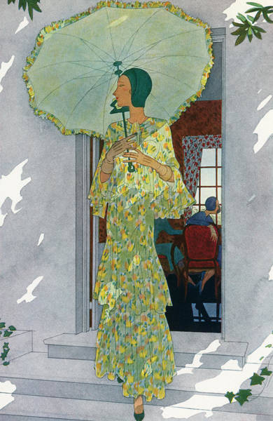 Elegant Woman With A Parasol Art Print by Graphicaartis