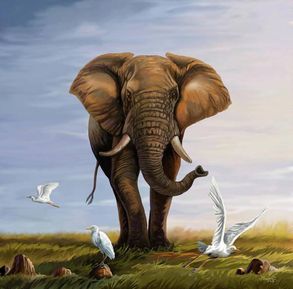 Uganda Painting - Elephant And Cattle Egrets by Anthony Mwangi