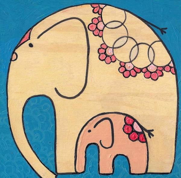 Painting - Elephant And Child On Blue by Caroline Sainis