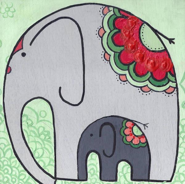 Elephant And Child On Green Art Print