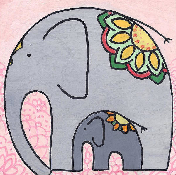 Painting - Elephant And Child On Pink by Caroline Sainis