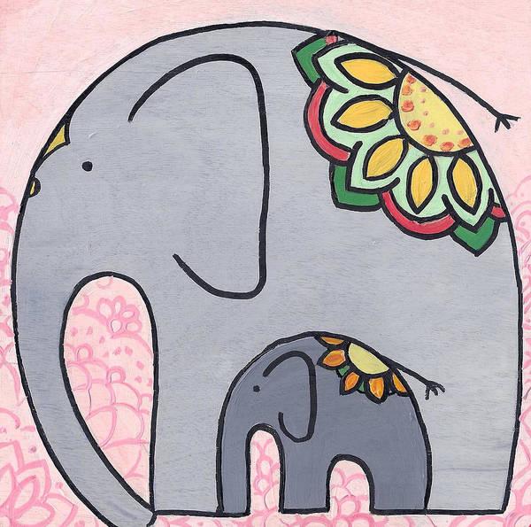 Elephant And Child On Pink Art Print
