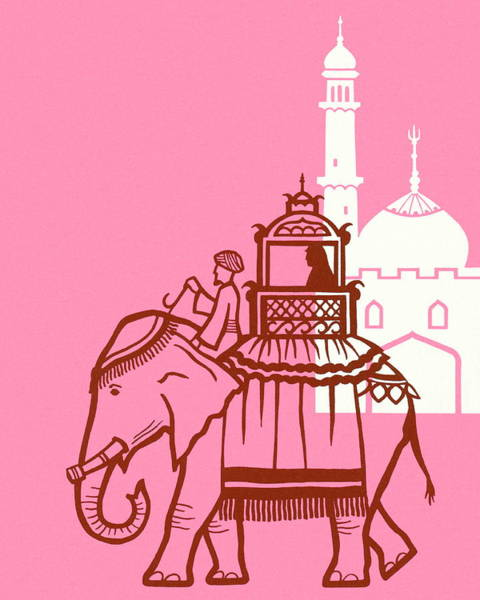 Truck Digital Art - Elephant And Mosque by Csa Images