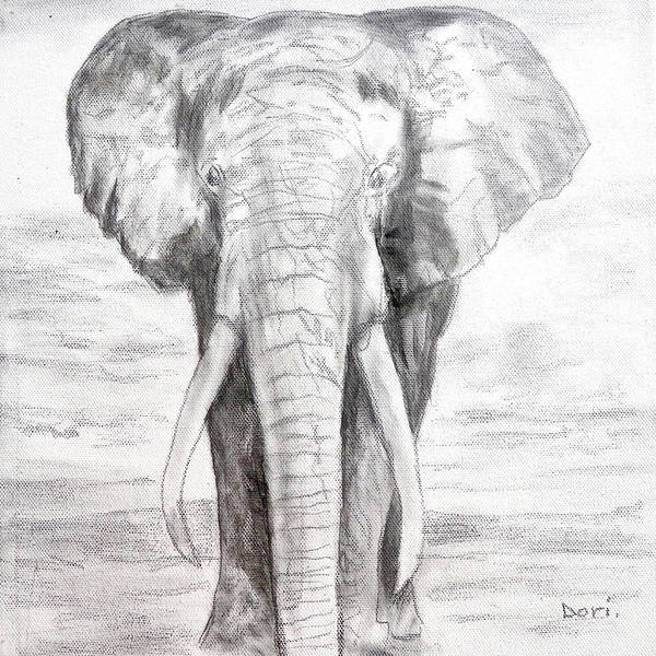 Monochrome Painting - Elephant by Dori Murakami