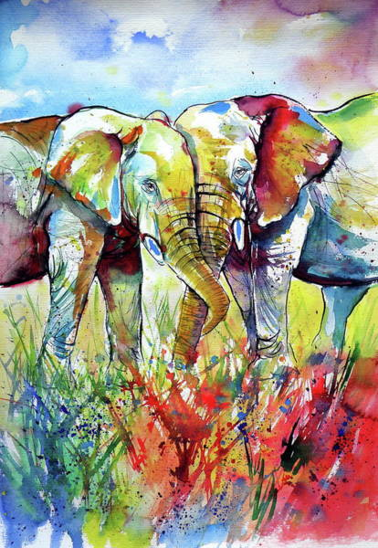 Wall Art - Painting - Elephant Love by Kovacs Anna Brigitta