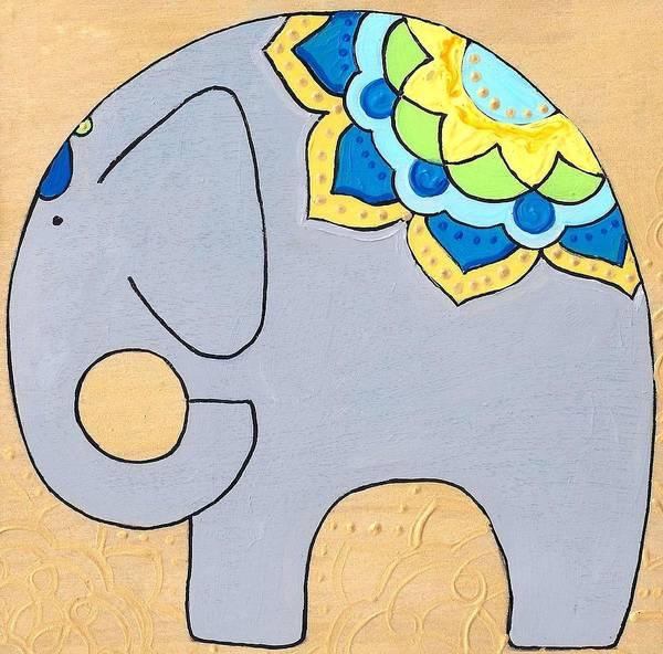 Elephant On Gold Art Print