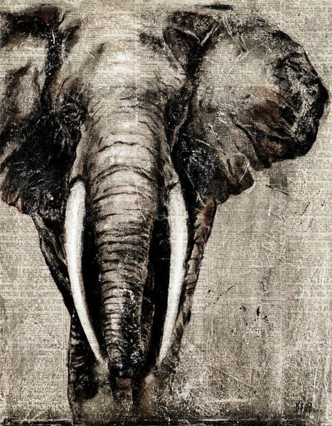 Newspaper Painting - Elephant On Newspaper by Patricia Pinto