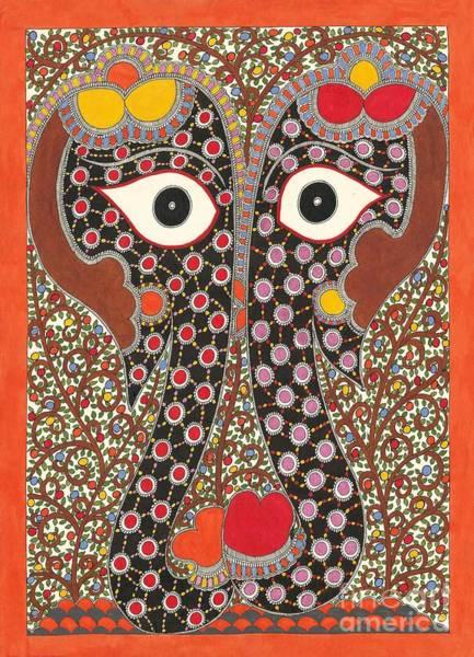 Elephant Pair-madhubani Paintings Art Print