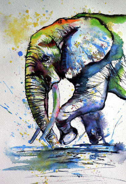 Wall Art - Painting - Elephant Playing /ii by Kovacs Anna Brigitta