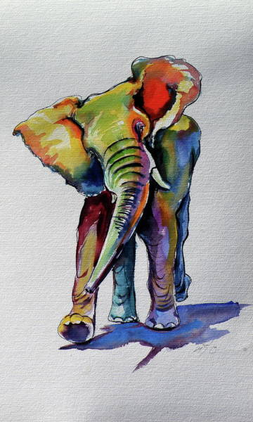 Wall Art - Painting - Elephant Playing  by Kovacs Anna Brigitta