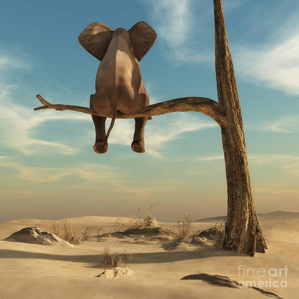 Haunted Wall Art - Digital Art - Elephant Stands On Thin Branch Of by Orla