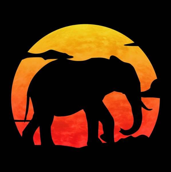 Wall Art - Digital Art - Elephant Sunset by Filip Hellman