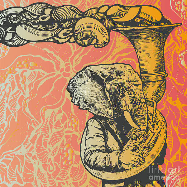 Engraved Digital Art - Elephant Trumpet On Abstract Floral by Jumpingsack