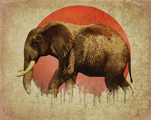Digital Art - Elephant Walking by Jan Keteleer