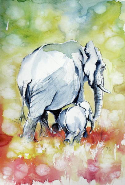 Wall Art - Painting - Elephant With Baby /c by Kovacs Anna Brigitta
