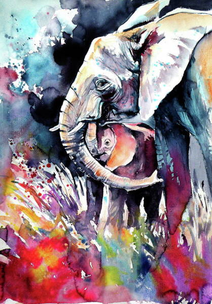 Wall Art - Painting - Elephant With Baby V by Kovacs Anna Brigitta