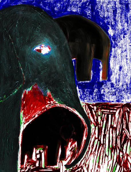 Digital Art - Elephants At Night by Artist Dot