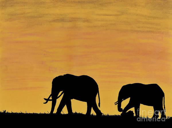 Elephants - At - Sunset Art Print
