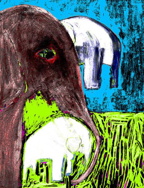 Digital Art - Elephants In The Evening by Artist Dot