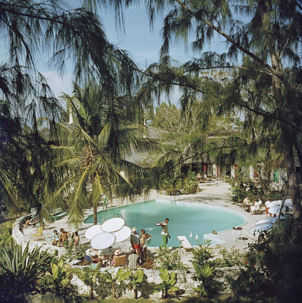 Swimming Pool Photograph - Eleuthera Pool Party by Slim Aarons