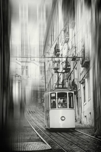Wall Art - Photograph - Elevador Da Bica Lisbon Portugal Black And White by Carol Japp