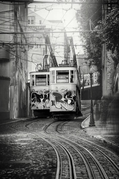 Gloria Photograph - Elevador Da Gloria Lisbon Portugal Black And White by Carol Japp