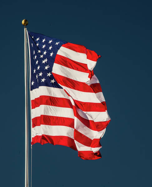 Photograph - Elevated American Flag In Wind by Gary Slawsky