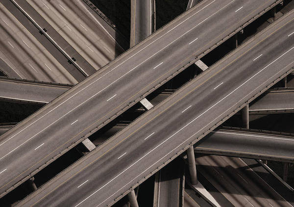 Wall Art - Photograph - Elevated Highway, Aerial View Digital by Greg Pease