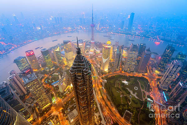 Wall Art - Photograph - Elevated Night View Of Shanghai`s by R.nagy