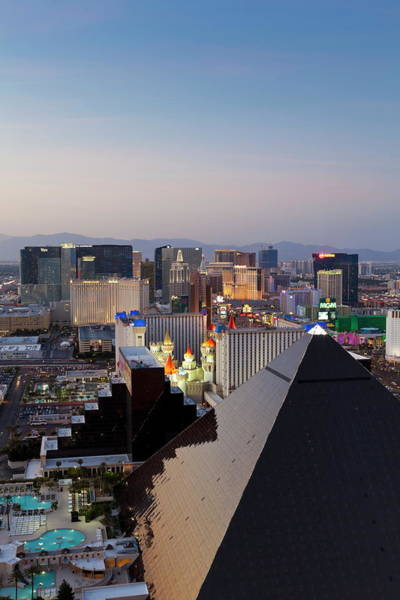 Kitsch Photograph - Elevated View Of Casinos On The Strip by Gavin Hellier / Robertharding