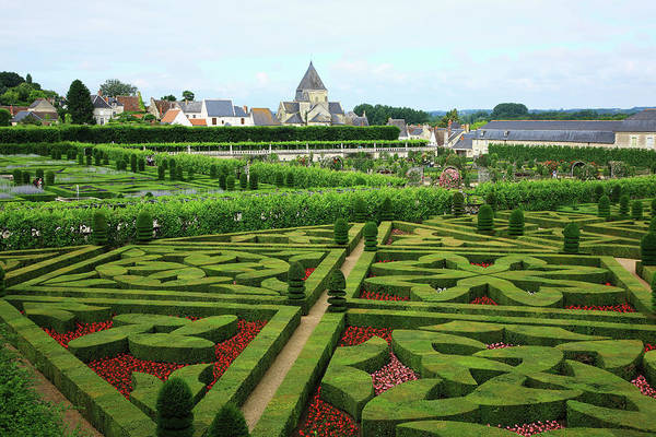 Villandry Photograph - Elevated View Of Formal Hedged by Hiroshi Higuchi