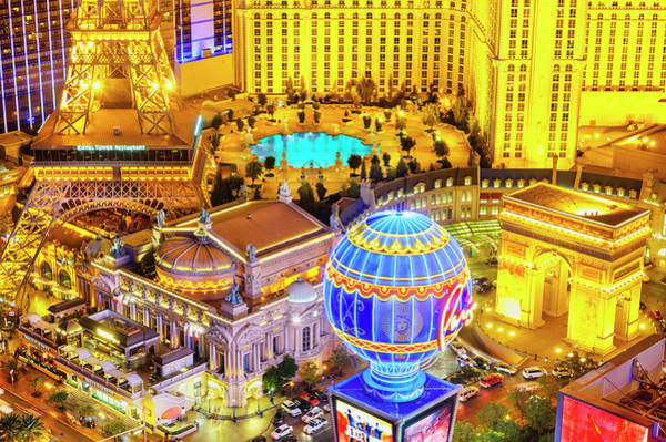 Las Vegas Photograph - Elevated View Of Illuminated Casinos by Mitchell Funk