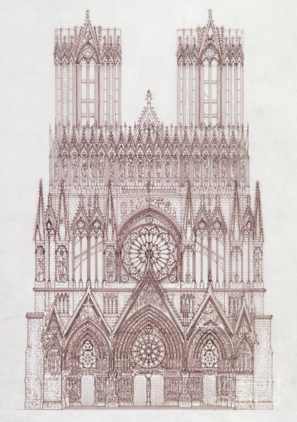 Wall Art - Drawing - Elevation Of The West Facade Of The Cathedral Of Notre Dame, Reims by French School