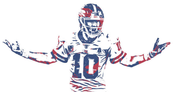 Wall Art - Mixed Media - Eli Manning New York Giants Pixel Art 77 by Joe Hamilton