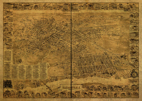 Wall Art - Mixed Media - Elizabeth City New Jersey Vintage Map 1898 by Design Turnpike