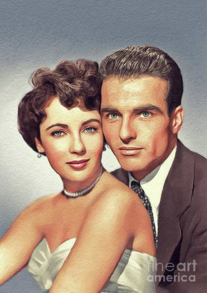 Elizabeth Taylor Painting - Elizabeth Taylor And Montgomery Clift, Hollywood Legends by John Springfield