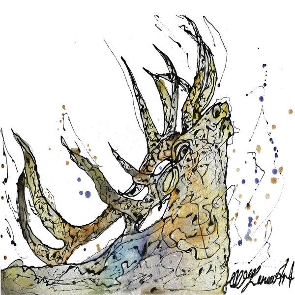 Mixed Media - Elk Art Print By Olena Art by OLena