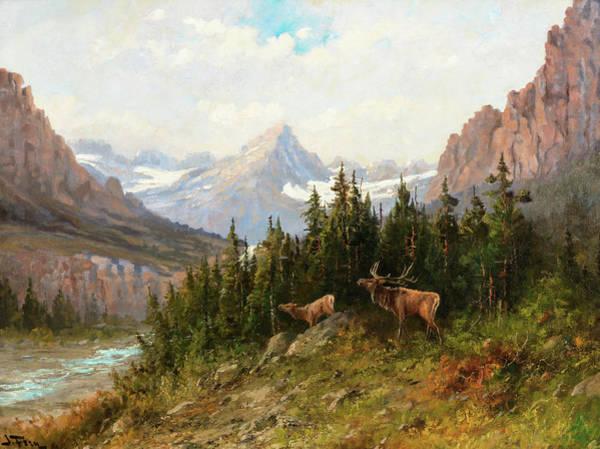 Wall Art - Painting - Elk, Glacier Park, 1920 by John Fery