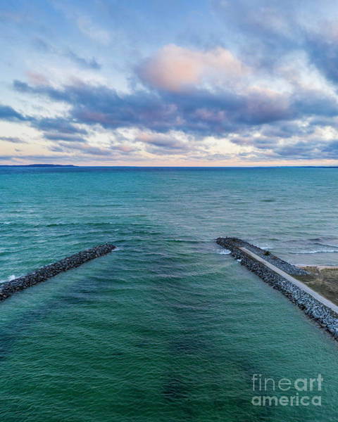 Download Photograph - Elk Rapids Morning Clouds Aerial by Twenty Two North Photography