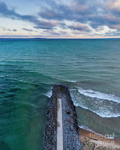 Download Photograph - Elk Rapids Shoreline Aerial by Twenty Two North Photography