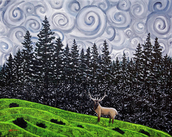 Wall Art - Painting - Elk Under Swirling Gray Clouds by Laura Iverson