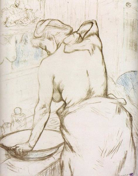 Wall Art - Painting - Elles. Woman At Her Toilette, Washing Herself - 1896 - Pc by Henri de Toulouse-Lautrec