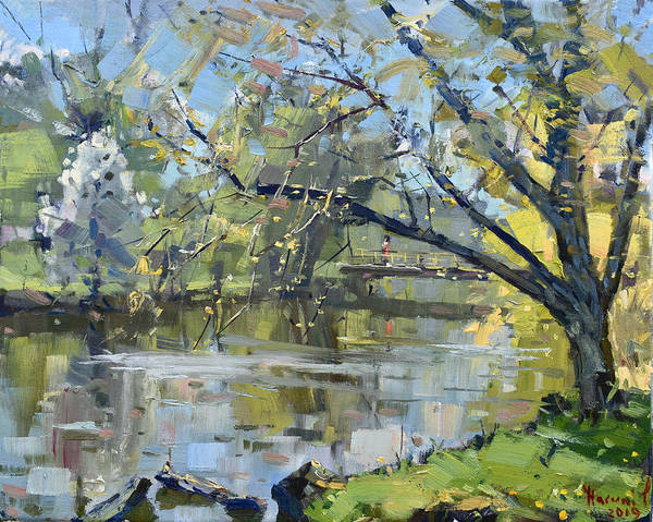 Blooming Tree Painting - Ellicott Creek Park by Ylli Haruni