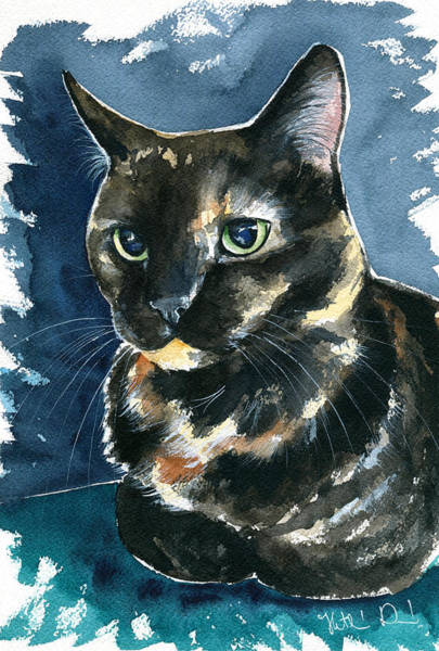 Painting - Ellie Tortoiseshell Cat Portrait by Dora Hathazi Mendes