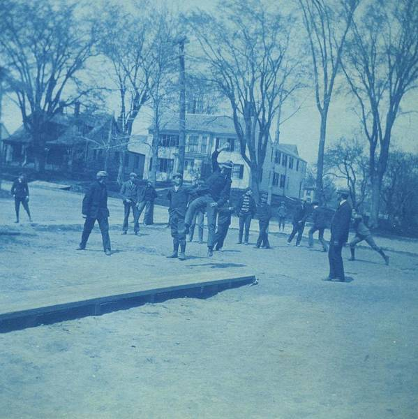 Petanque Wall Art - Painting - Elm Street School Ball Game 1900 by Celestial Images
