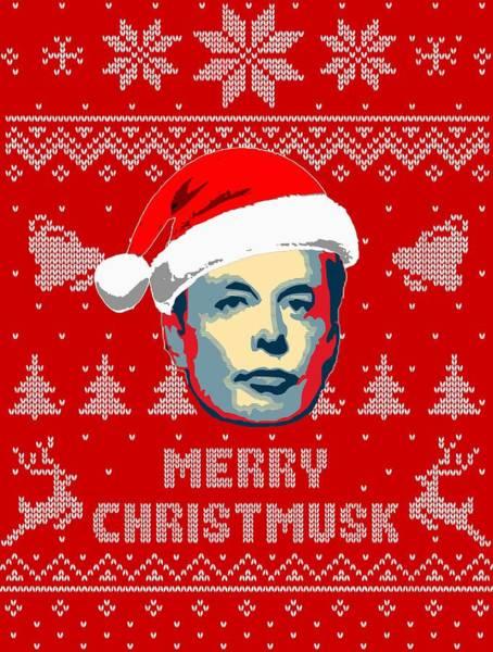 Wall Art - Digital Art - Elon Musk Merry Christmusk by Filip Hellman