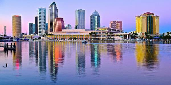 Wall Art - Photograph - Elongated Tampa Skyline by Frozen in Time Fine Art Photography