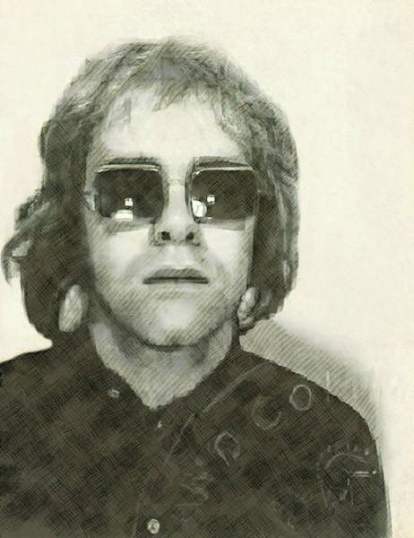 Wall Art - Digital Art - Elton John Passport Photo 1972 by Daniel Hagerman
