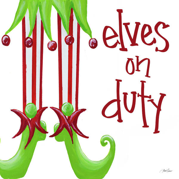 Elves On Duty Square Art Print