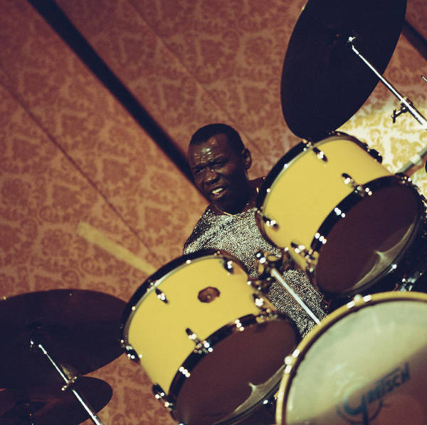 Drum Photograph - Elvin Jones On The Drums by David Redfern